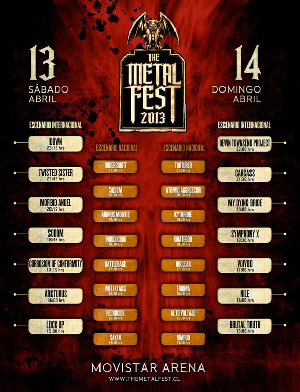 HORARIOS THE METAL FEST